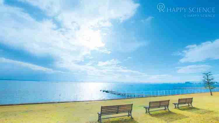 Hさんが祈願を受けた琵琶湖正心館。庭からは美しい琵琶湖を一望できる。