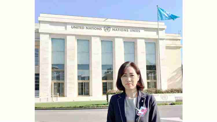 2018年10月、スイス・ジュネーブで国連の人権理事会の事前セッションに参加。