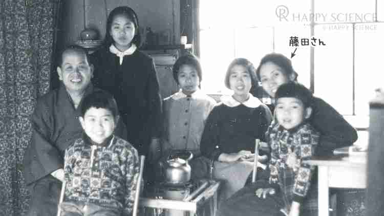 結婚して10数年が経ったころの藤田さん一家。左の和服の男性がご主人、その手前が長男の昌彦さん